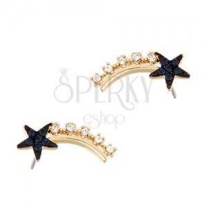 Třpytivé puzetové náušnice - padající zirkonová hvězda, tmavomodré kamínky