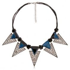 Náhrdelník, mohutné trojúhelníkové ozdoby, černé nepravidelné válečky, modré zirkony
