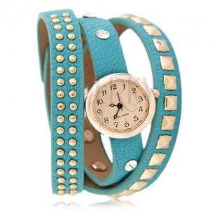 Náramkové hodinky, modrozelený okovaný řemínek, oranžovožlutý ciferník, zirkony