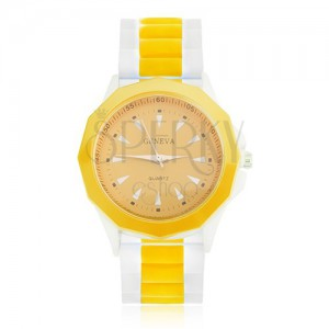 Analogové hodinky žluto-bílé barvy, žlutý ciferník, silikonový řemínek