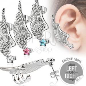 Fake piercing do ucha z oceli - křídlo a barevná zirkonová hvězda