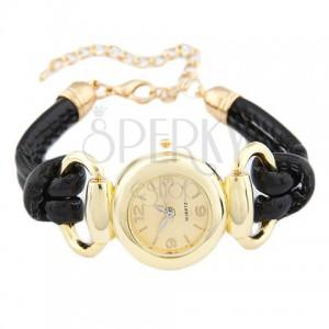 Náramkové hodinky - ciferník zlaté barvy, lesklý černý ozdobný řemínek