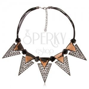 Náhrdelník - masivní trojúhelníky, čiré kamínky, černé broušené válečky