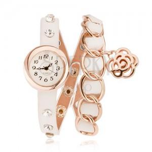 Analogové hodinky - bílý řemínek s čirými kamínky, zlatá očka, květ