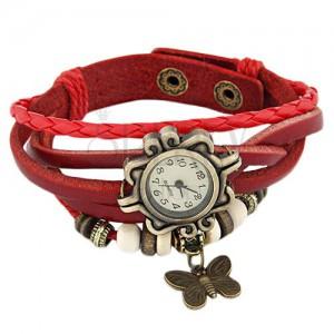 Náramkové hodinky, ozdobně vyřezávané, červený pletený řemínek, korálky