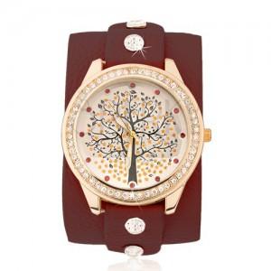 Bordó náramkové hodinky - strom života, čiré a červené kamínky