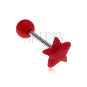 Piercing do jazyka, lesklá červená hvězda