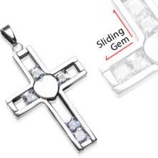 Přívěsek z chirurgické oceli - kříž s posuvnými klenoty