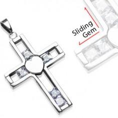 Přívěsek z chirurgické oceli - kříž s posuvnými klenoty G13.9