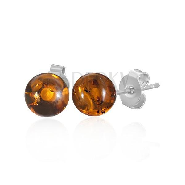 Ocelové puzetové náušnice - průhledné oranžové kuličky