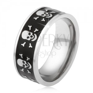 Prsten z oceli 316L - černý glazovaný pás, lebka a zkřížené kosti