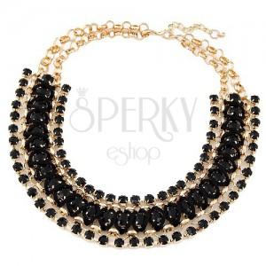 Mohutný náhrdelník - kulatá očka zlaté barvy, černé kamínky a šňůrka