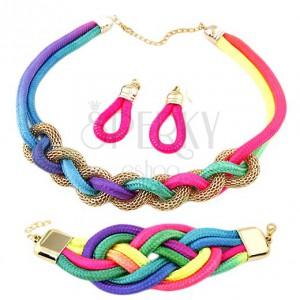 Set náušnic, náramku a náhrdelníku, proplétaná barevná lanka, řetízek