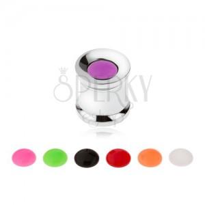 Ocelový tunel plug do ucha, vyměnitelné barevné kroužky, 8 mm