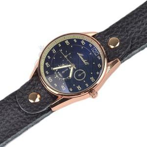 Náramkové hodinky - velký tmavě modrý ciferník, černý koženkový řemínek