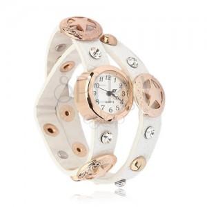Náramkové hodinky zlaté barvy, bílý okovaný řemínek, hvězdy
