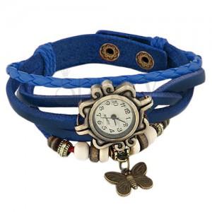 Analogové hodinky - tmavomodrý zaplétaný řemínek, ozdobný ciferník