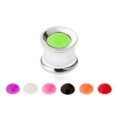 Ocelový tunel plug do ucha, vyměnitelné neonové disky, 10 mm