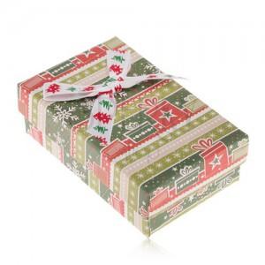 Krabička na náušnice a prsten, zeleno-červený vánoční motiv, ozdobná mašle