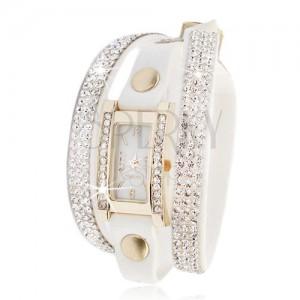Náramkové hodinky, blyštivý zirkonový pás, bílý řemínek