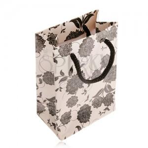 Dárková taštička na šperk béžové barvy, černé květy, šňůrka