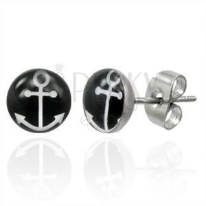 Ocelové náušnice se symbolem kotvy