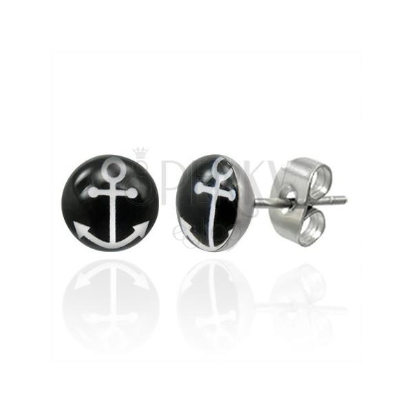 Puzetové ocelové náušnice s bílým symbolem kotvy na černém kruhu
