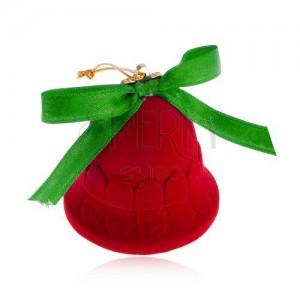 Sametová krabička na šperk, červený zvoneček, lesklá zelená mašlička