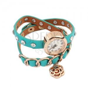 Náramkové hodinky, modrozelený řemínek, kamínky, řetízek a květ