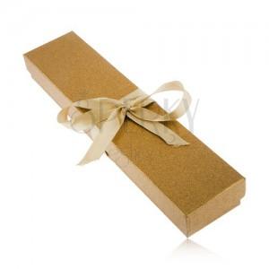 Třpytivá krabička zlaté barvy na náramek, lesklá stuha