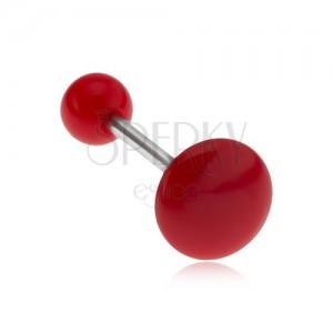 Lesklý červený piercing do jazyka, kruh