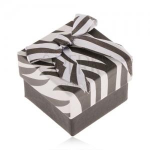 Dárková krabička na prsten, černobílá zebra, lesklá mašle