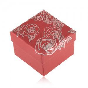 Červená krabička na šperk, motiv květů stříbrné barvy