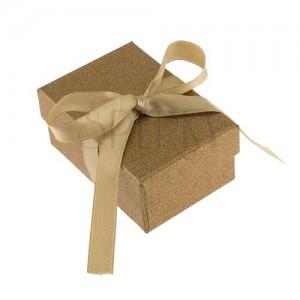 Krabička na prsten a náušnice, blýskavý povrch zlaté barvy, zelená mašle