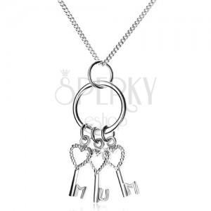 Stříbrný 925 náhrdelník - řetízek a tři klíčky na kroužku, MUM