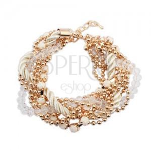 Náramek - zakroucená bílá spirála ze šňůrek, řetízky zlaté barvy, korálky