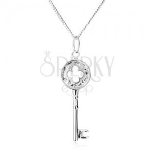 Náhrdelník - třpytivý řetízek, klíček s výřezem ve tvaru květu, stříbro 925