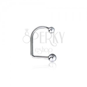 Zahnutý ocelový piercing do brady a rtů se dvěma kuličkami, 4 a 5 mm