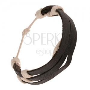 Černý kožený náramek - tři pásky převázané bílým motouzkem