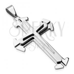 Ocelový přívěsek ve stříbrném odstínu - trojitý kříž