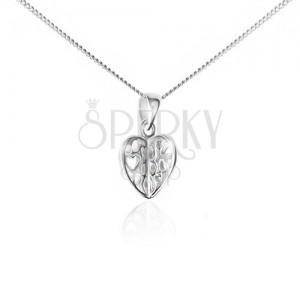 Náhrdelník ze stříbra 925 - řetízek a přívěsek, vyřezávané srdce