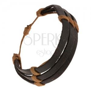 Černý kožený náramek - tři proužky převázané hnědým motouzkem