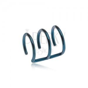 Ocelový fake piercing do ucha modré barvy - tři kroužky