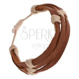 Náramek - tři kaštanově hnědé pásky kůže převázané béžovou šňůrkou