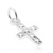 Stříbrný 925 přívěsek, gravírovaný kříž s hvězdami na povrchu
