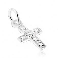 Stříbrný 925 přívěsek, gravírovaný kříž s hvězdami na povrchu V07.26