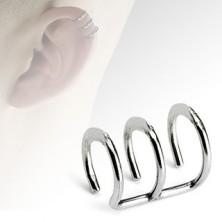 Falešný piercing do ucha z oceli, tři lesklé kroužky