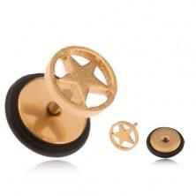 Ocelový fake plug zlaté barvy, hvězda v kruhu