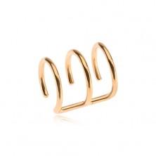 Ocelový fake piercing do ucha zlaté barvy, trojitý kroužek
