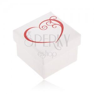 Dárková krabička na šperk bílé barvy, červený obrys srdce